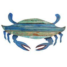 Recycled Folk Crab Wall Art: Beach Decor, Coastal Decor, Nautical Decor, Tropical Decor, Luxury Beach Cottage Decor