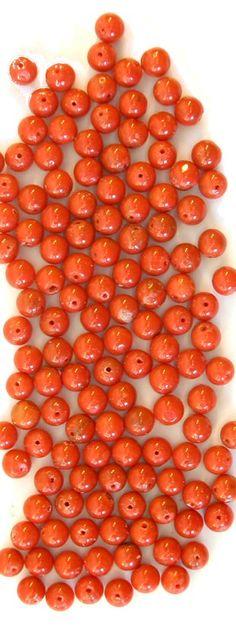 Natural Red Mediterranean 5mm Round Beads, PER BEAD