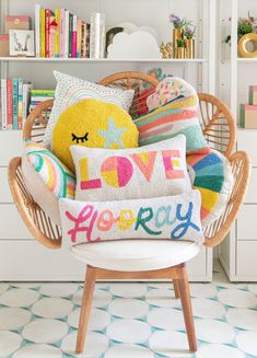 """Join 10 people right now at """"cozy up with our newest pillow collection. - Oh Joy! Cute Pillows, Colorful Pillows, Throw Pillows, Diy Pillows, Punch Needle Patterns, Complimentary Colors, Getting Cozy, Girls Bedroom, Home Goods"""