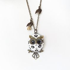 Snow Chubby Owlette Owl Necklace Antique Bronze by charmming