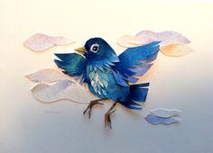 little blue bird collage commission.