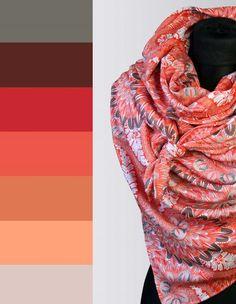 Coral/Grey RiesenTuch von anami auf DaWanda.com Coral, Etsy, Fashion, Scarves, Colors, Moda, Fashion Styles, Fashion Illustrations