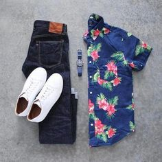 with a fun summer outfit idea - Hawaiian button up shirt denim white sneakers omega timepiece Stylish Men, Men Casual, Casual Outfits, Fashion Outfits, Fashion Tips, Men's Outfits, Fashion Styles, Luxury Fashion, Look Man