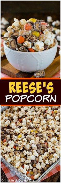 Reese's Popcorn - three times the peanut butter goodness in this easy no bake snack mix makes it disappear. Great recipe for munching on or giving as a gift!