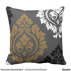 Decorative Damask Art I Gold Black White on Grey