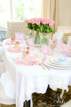 How to Set a Perfect Pink Easter Table with DIY Mini Floral Easter Baskets - Randi Garrett Design