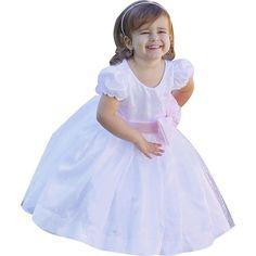 Vestido de Festa Liminha Doce Infantil Daminha Branco e Rosa-Bebê com Laço
