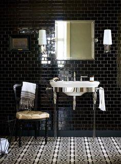 art deco bathroom tiles 42 - Decor Renewal Art Deco Bathroom Tiles 26 Going for Bold Make A Splash In Your Bathroom with Monochrome Tiling and Dramatic Art Deco 6 Black Tile Bathrooms, Upstairs Bathrooms, Modern Bathroom, Small Bathroom, Master Bathroom, Art Deco Bathroom, Bathroom Tile Designs, Bathroom Floor Tiles, Metro Tiles Bathroom