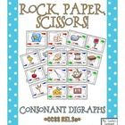 "NEW! Rock, Paper, Scissors: Consonant Digraphs {ch, sh, th, ph, wh} is an exciting twist on the ""Rock, Paper, Scissors"" hand game. It covers 24 digraph words. Cards with images and those without are included. This game works wonderfully as a partner activity or literacy station!"