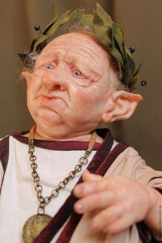 Купить Октавий - коричневый, гном, сказочный персонаж, римлянин, рим, тога, авторская ручная работа
