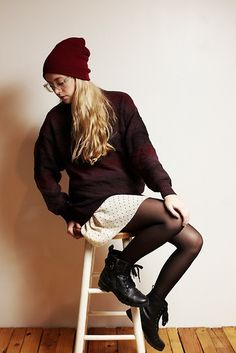 Falling Out (by Arlena Armstrong) Fall Outfits, Cute Outfits, Fashion Outfits, Skirts With Boots, Skirt Boots, Goth Chic, Vision Street Wear, Hipster Girls, Sheer Tights