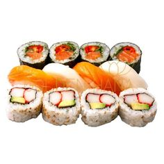 Surtido Samurai (12 piezas de sushi) 4 Makis de Salmón, rúcula y tomate cherry.  4 California (Kanikama y aguacate) 2 Niguiris de Salmón.  2 Niguiris de Pez Mantequilla.