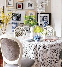 Kelly Wearstler Confetti fabric table cloth. Love this blk/cream fabric!