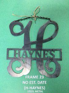 Metal Initial Door Hanger - Custom Metal Sign - Metal Welcome Decor -  - Garden Flag  - STEEL METAL
