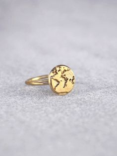 14k Gold Handmade World Map Ring / Valentineu0027s Day / By Bubblebox