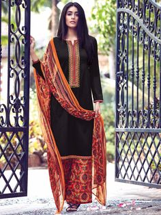 Shop Plain black cotton festive wear ready made salwar suit online from G3fashion India. Brand - G3, Product code - G3-WSS12317, Price - 3295, Color - Black, Fabric - Cotton,