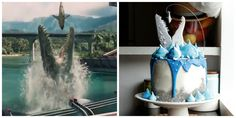 We had to show you a side-by-side of Koalipops' masterpiece: A great white shark cookie dangles perilously over this meringue-topped and white-chocolate-ganache-dripping cake. Get the tutorial. - Delish.com