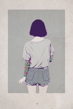 Adams Carvalho illustration girl with tattoo