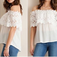 Floral off shoulder top Off shoulder. Based on your shoulders' wideness, the degree of off-shoulder may vary. Floral lace deco. US M (Asian L). Rayon-two Tops Tees - Short Sleeve