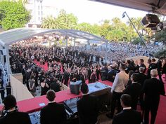 """Cannes Film Festival Red Carpet Premiere """"This Must Be The Place""""  View from top of famous stairs !"""