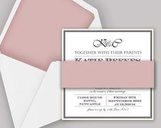 Bespoke Dusky Pink & Grey Wedding Stationery from http://knotsandkisses.co.uk