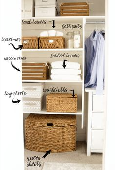 KonMari Your Linen Closet - Honeybear Lane Everyone is jumping on the KonMari bandwagon (Marie Kondo) and dejunking and decluttering, I started with my linen closet and couldn't love it more! Linen Closet Organization, Home Organisation, Bathroom Organization, Bathroom Storage, Fridge Organization, Closet Storage, Towel Storage, Bathroom Ideas, Organize Bathroom Closet