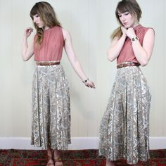 "Vtg CULOTTES Wide Leg PALAZZO Pants High Waisted Paisley 25"" Waist Size Extra Small Flowy Flouncy BOHEMIAN Pants"