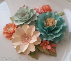 Mix paper flower styles to decorate your tables at your next event Designed by Anna Fearer I need a cricut! Giant Paper Flowers, Diy Flowers, Flower Decorations, Fabric Flowers, Paper Flower Centerpieces, Diy Paper, Paper Art, Paper Crafts, Deco Floral