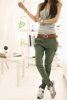 Polyester Skinny Modern Style Straight Leg Pants For Women (ARMY GREEN,S) China Wholesale - Sammydress.com