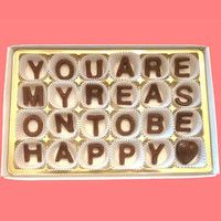 You Are My Reason To Be Happy Milk Chocolate Letters-Anniversary Valentines Gift for Husband Boyfriend-Made to Order