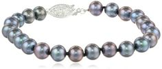 """Sterling Silver and Peacock Black Freshwater Cultured A-Quality Pearl Bracelet (6.5-7 mm), 7"""" Amazon Curated Collection"""