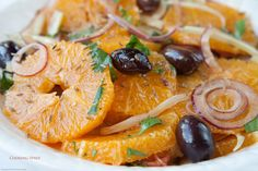 Moroccan Orange Salad with Red Onions & Black Olives. Substitutions/additions available:  Lemon instead of lime; add chili + paprika; fresh herbs can be a combo of mint, cilantro, parsley