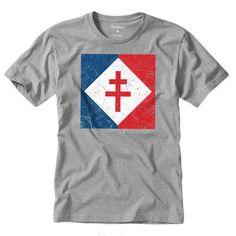'Lorraine Cross Vintage Flag' T-Shirt by quark Vintage Flag, Lorraine, Tshirt Colors, Neck T Shirt, Classic T Shirts, Shirt Designs, Graphic Design, History, Mens Tops