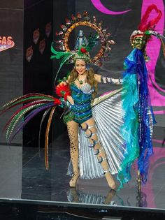 Paulette Samayoa, Miss Guatemala 2013, models in the National Costume contest at Vegas Mall on November 3, 2013. (Credit: Darren Decker/Miss Universe2013