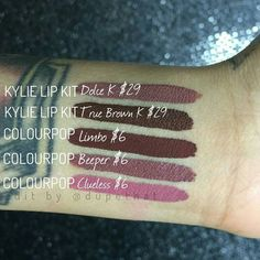 """DUPETHAT on Instagram: """"SO, you've probably seen the photos going around of @colourpopcosmetics liquid lipsticks being dupes for the @lipkitbykylie liquid lipsticks. We didn't share any of these swatches because we always like to compare products side by side, and be as accurate as possible! We're still waiting on our Kylie Lip Kit orders to arrive, but @paintedladyyyy swatched the supposed dupes side by side and confirmed it.. True Brown K and Limbo are very DIFFERENT! However, Beeper does…"""