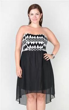 7491ee8d5f Deb Shops plus size strapless high low dress with tribal sequin bodice   39.90 Graphic Shirts