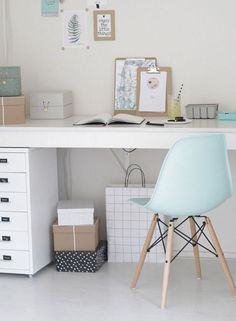 The French Bedroom Company Blog explores how to get the look: Pale blue and soft grey in you interior. Home inspiration for baby blue and grey rooms including blue outfits ideas with cashmere and wool chunky knits and coats. French painted furniture and accessories are perfect for getting the Pantone Colour of the year 2016 Serenity into your home. Modern scandi desk home office with eames chair