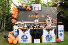 Dribble the ball and shoot at the line, this Basketball Birthday Party is divine! Packed with slam dunk details for all basketball fans to love, this event bySanuja Vitanachy of Partylicious, is a game-winner for sure! So check the clock and pass the ball in the following favorite party elements are a win win:  Basketball Themed Birthday Cake Basketball-colored Orange + Black Balloon Garlands Basketball Net Dessert Table Backdrop Water Break Beverage Bar Pedestaled Basketball Centerpieces Orang