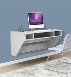 "42"" Modern Floating Wall Mounted Desk in White – OfficeDesk.com"