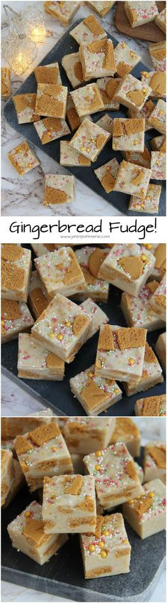 White Chocolate & Gingerbread Fudge, with Gingerbread Men. Fudge Recipes, Candy Recipes, Sweet Recipes, Dessert Recipes, Desserts, Christmas Fudge, Christmas Treats, Christmas Hamper, Christmas Cakes