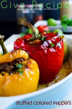 Bell Peppers Stuffed with Freekeh and Lamb, bellpeppers,stuffed freekeh, lamb turkish | giverecipe.com @Zerrin Pudas Gunaydin | GiveRecipe