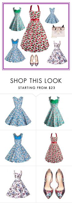 """""""Excellent Falbala Floral Printed Skater-Dress"""" by fashion-girl-fashion ❤ liked on Polyvore featuring beauty, Bebe and Betsey Johnson"""