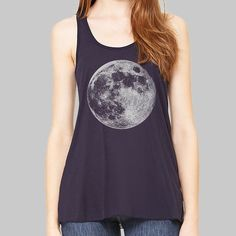 c919db1d3144e Full Moon Tank Top womens racer back tank Bella by MadMoonClothing Graphic Tank  Tops