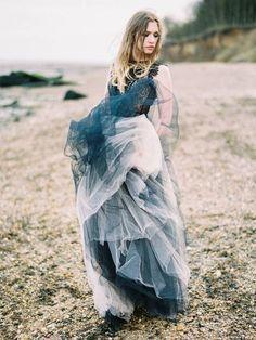 Non white wedding dress Non White Wedding Dresses, Most Beautiful Wedding Dresses, Wedding Dress With Veil, Indigo Wedding, Blue Wedding, Wedding Looks, Bridal Looks, Wedding Styles, Wedding Themes