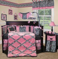 Baby Boutique  Pink Minky Zebra  13 pcs Crib Nursery Bedding Set