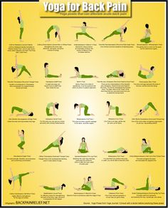 Yoga for Back Pain is an infographic created by Backpainrelief.net. It covers all the yoga poses that may alleviate back pain.