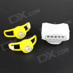 DIY White   RGB Headlight   Tail Warning Lamp Set for Bicycle - White   Yellow Price: $7.77