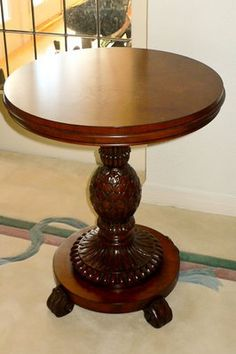 Images Of Ethan Allen Side Tables | Moving Sell: Ethan Allen Small Round  Pineapple Side