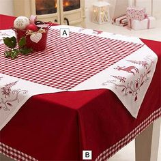 Red checkered Christmas table cover decorated with reindeer, fir trees and hearts.Christmas Check Tablecloth in placemats and table linen at LakelandThe Christmas Check out Tablecloth product has been discontinued.Christmas table cloth with red check Christmas Table Cloth, Christmas Decorations, Holiday Decor, Christmas Sewing, Christmas Projects, Christmas Quilting, Christmas Time, Christmas Thoughts, Christmas Lights