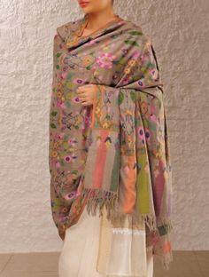 Fine Kashmir Pashmina Dorukha Kani Guldasta Design Hand Woven Shawl
